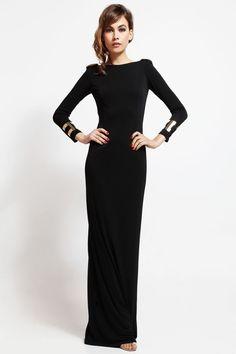 vestido largo de fiesta negro con cadena para boda y nochevieja