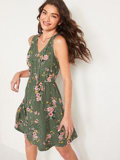 Sleeveless Waist-Defined V-Neck Dress for Women | Old Navy Old Navy Dresses, Women's Dresses, Old Navy Women, V Neck Dress, Capsule Wardrobe, Style Me, Wrap Dress, Shop Old Navy, Pretty