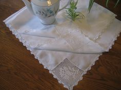 Cotton fillet lace runner,white cotton vintage tablecloth,wedding tablecloth, crochet accents at Designs by Willowcreek on Etsy by DesignsByWillowcreek on Etsy Wedding Tablecloths, Vintage Tablecloths, Lace Runner, Crochet Wedding, Eyelet Lace, Shabby Cottage, Crochet Trim, Decoration, White Cotton