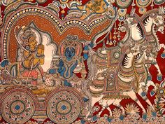 Kalamkari is Pen Craft. The intricate pictures are drawn with kalam or bamboo reed using natural dyes. The antiquity of natural dyed fabrics in India dates back to the pre-Christian era.