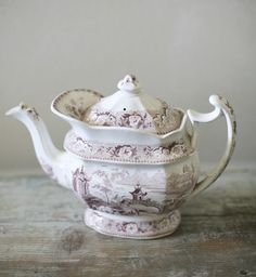 Mulberry transferware teapot, would LOVE to have this......two collections with one stone, transferware and teapots!
