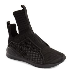 Women's Puma By Rihanna 'Fenty' Trainer (1.200 DKK) ❤ liked on Polyvore featuring shoes, sneakers, black, mesh slip on shoes, puma trainers, black slip on shoes, black shoes and puma sneakers