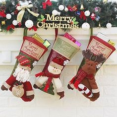 Set of 3 Christmas Stockings Decoration with Cute Plush Santa Snowman Reindeer Xmas Stockings for Christmas Decorations Gifts and Family Holiday Decor 18 Inch *** You can find more details by visiting the image link-affiliate link. Christmas Stocking Decorations, Family Christmas Stockings, Christmas Candy Gifts, Merry Christmas, Christmas Pops, Christmas Stocking Holders, Xmas Stockings, Santa Gifts, Christmas Gifts