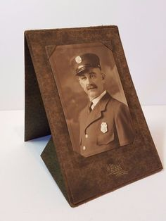 Vintage Antique Police Officer Cabinet Photo Card Ohio Photograph Policeman Old