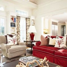 red couch family room - Google Search