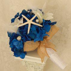Beach Wedding Bouquet- Starfish Seashell Wedding Accessory- Nautical Blue White Bouquet- Made to Order
