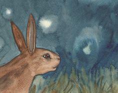 Original Art - la Reine des lapins - aquarelle lapin peinture - le Tarot de la forêt de blaireaux