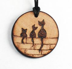 Personalized Three Cat Mother and daughter family handmade wood necklace, Pyrography burned on designer wooden pendant made by artist