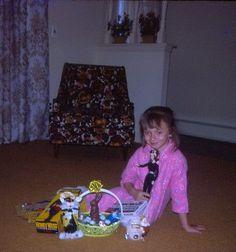 8-vtg-35mm-slides-girl-at-birthday-Easter-presents-Honey-west-doll-pet-dog-bunny