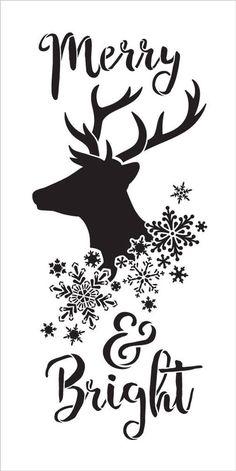 Merry & Bright Stencil by Reindeer Snowflakes Diy Xmas, Cricut Christmas Ideas, Christmas Stencils, Christmas Vinyl, Christmas Signs Wood, Christmas Quotes, Christmas Printables, Christmas Themes, Holiday Crafts