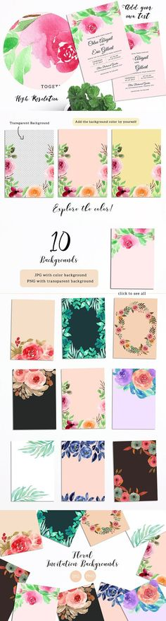Floral Invitation Backgrounds #invitationbackground #weddinginvitation