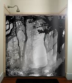 misty shades of gray woods forest tree shower curtain bathroom decor