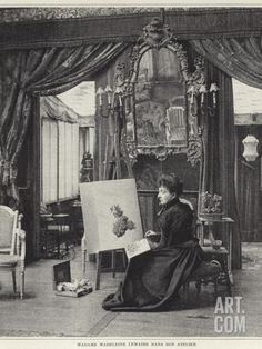 Madeleine Lemaire dans son atelier - Madeleine Lemaire (French, 1845-1928)