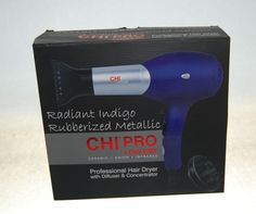 CHI Pro Low EMF Professional 1500 Watt Hair Dryer & Diffuser Radiant Indigo for sale online Chi Hair Products, Professional Hair Dryer, Dryers, Flat Iron, Diffuser, Indigo, Metallic, Ship, Free