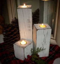 Wood candleholder trio Tea light holder rustic distressed look Farmhouse style Includes 12 8243 8 8243 4 8243 Wedding gift home decor White Christmas Wood Crafts, Christmas Crafts, Christmas Decorations, Christmas Candles, Winter Wood Crafts, Christmas Signs, Fall Crafts, Wood Projects For Beginners, Diy Wood Projects