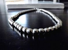 "TAXCO Mexico Sterling Silver 925 Southwestern 6mm Bead Ball 16"" Choker Necklace #TM222"