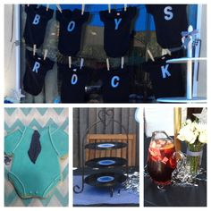Boys Rock Baby Shower w/Houndstooth pattern color scheme theme, guitar menu frames hand painted from Michaels, vinyl record banner, vinyl record patter for serving settings. Onesies cookie party favor! Everything down to the detail to make this event elegant!
