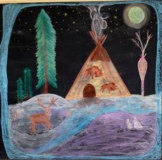 3rd grade shelters chalkboard drawing - April Combs Mann - Cincinnati Waldorf School