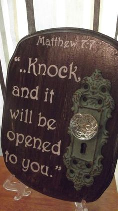 wooden painted plaque with doorknob and Bible verse by ThroughHim, $17.00