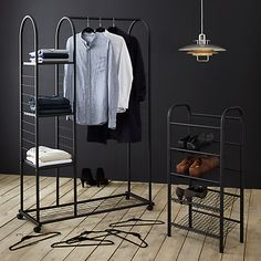 Buy John Lewis & Partners Clothes Rail with Shelf Unit, Black from our Clothes Rails & Fabric Wardrobes range at John Lewis & Partners. Boutique Interior, Room Interior, Interior Design Living Room, Iron Furniture, Steel Furniture, Clothes Rail With Shelves, Clothes Racks, John Lewis, Interior Design Plants