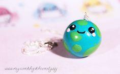 Kawaii World Earth Polymer Clay Charm Necklace by ~CharmsByIzzy on deviantART