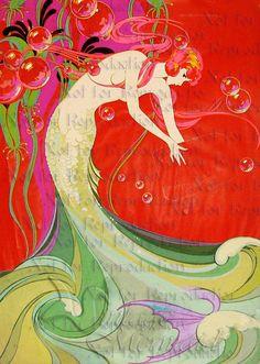 s596 Vintage Art Deco Mermaid Quilt Fabric Block Print Quilts Applique Quilting Craft Supplies.