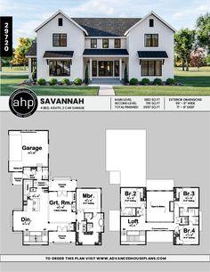 This story, modern farmhouse plan boasts a unique layout. Sims House Plans, Two Story House Plans, New House Plans, Dream House Plans, Modern House Plans, Modern House Design, House Floor Plans, Floor Plans 2 Story, Two Story House Design