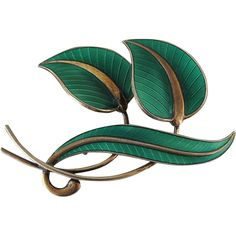 Vintage Norwegian Enameled Silver Pin By A. Leaf Jewelry, Jewellery Box, Gold Wash, Handmade Ideas, Enamels, Bright Green, Silver Enamel, Green Leaves, Branches