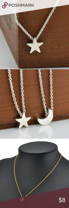 """Silver Star Necklace NEW Silver Tone Star Necklace with 16"""" Chain, 2"""" Extender & Lobster Claw Clasp. Trendy and Stylish, the Star glides on the chain. Silver Crescent Moon Necklace also listed for sale. NEW. BUNDLE & SAVE On Shipping. On Mercari for Cheaper. Jewelry Necklaces"""