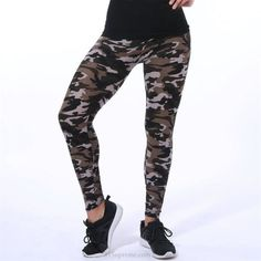 Casual High Elastic Skinny Camouflage Legging   81Supreme