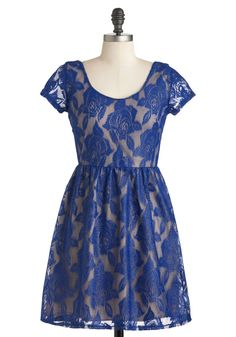Oh So Quiet Dress - Short, Blue, Tan / Cream, Floral, Lace, Party, A-line, Short Sleeves, Fall