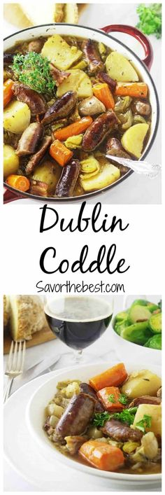 A Dublin Coddle is a rich, comforting and humble Irish stew of pork sausage, vegetables and herbs. Serve with Irish soda bread and a Guinness beer. Dutch Oven Recipes, Irish Recipes, Pork Recipes, Crockpot Recipes, Cooking Recipes, Irish Meals, Chili Recipes, Cooking Ideas, Yummy Recipes