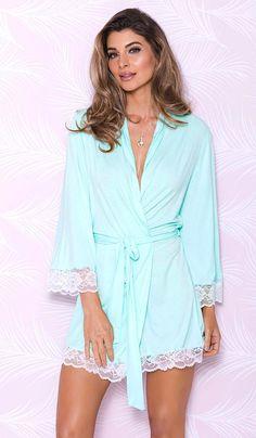 1527153ca5 Aqua Short Stretch Knit Robe w Lace Trim (Small-XL)