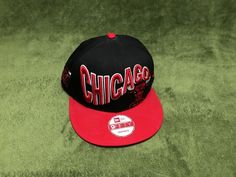 New Era Chicago Bulls Snapback Hat Cap Black Red 9Fifty Used  fashion   clothing   034fbff439e
