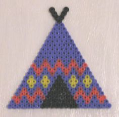 Tent native americans hama beads Hama Beads Patterns, Crochet Patterns, Bead Crafts, Diy And Crafts, Motifs Perler, Indian Crafts, Bobble Stitch, Le Far West, Native Americans