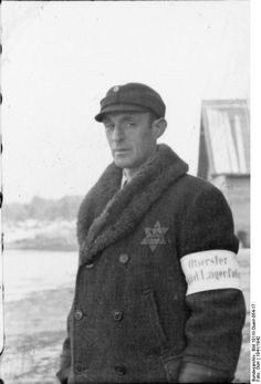 A kapo leader at Salaspils concentration camp with a Lagerpolizist (camp police) armband.