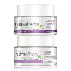 A $36 value, this duo includes: Avon nutraeffects Ageless Multi-Action Day Cream SPF 20Introducing the nutraeffects product line. The Ageless Collection helps skin feel deeply replenished for visibly youthful, restored plumpness, while helping to reduce the appearance of lines and wrinkles. It also helps support the natural production of collagen.  nutraeffects Ageless Day Cream Broad Spectrum SPF 20 is a lightweight cream that helps reduce the appearance of lines and wrinkles for more yout