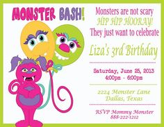 Deb's Party Designs - Monster Girl Birthday Invitation, $1.00 (http://www.debspartydesigns.com/monster-girl-birthday-invitation/)