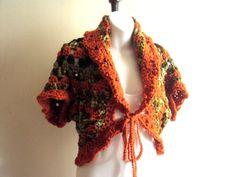 SALE! Boho Shrug Afghan  Granny Square Shrug Cardigan   Hippie Style Bolero  #Handmade #Shrug