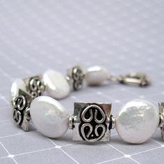 White Pearl & Bali sterling silver bracelet by MarlaFayeCreations, $42.00