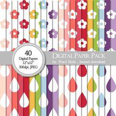 SALE 40 Digital Paper Pack Flower design Rain drop by rueastyle