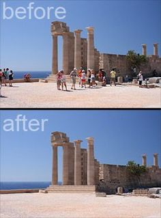 Delete tourists from your travel photos using Photoshop. I don't have Photoshop, but if I ever do, this will come in handy! Dicas Do Photoshop, Photoshop Script, Photoshop Actions, Photoshop Ideas, Photoshop Elements, Funny Photoshop, Adobe Photoshop, Photoshop Software, Advanced Photoshop