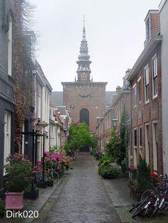 Nieuwe Kerkstraat during the pouring rain, Haarlem, Holland