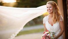 Cara's bespoke wedding veil outside