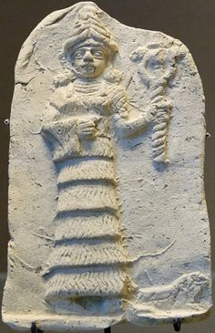 Ishtar, Queen of Night, holding her weapon: terracotta relief, early 2nd millennium BC. From Eshnunna, a city-state in central Mesopotamia