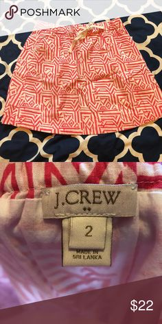 J. Crew hot pink and white pattern skirt