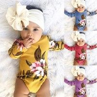 Wish | Popular Newborn Infant Baby Girl Boy Long Sleeve Letter Romper Jumpsuit Outfits Clothes Kids Baby Cute T-shirt