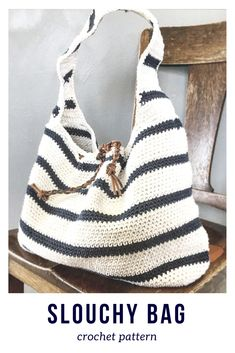 I love this striped slouchy crochet bag! What a cute gift idea ...#afflink #crochet #crochetpattern #etsy #crochetbags