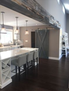/stikwooddesign/ reclaimed weathered wood beams love the wine cabinet Design Your Kitchen, New Kitchen, Kitchen Decor, Kitchen Designs, Kitchen Wood, Kitchen Ideas, Kitchen Cabinets, Craftsman Kitchen, Kitchen Paint