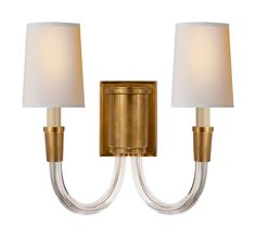 Limited Production Design & Stock: Elegant Twin Arm Wall Light * Antique Brass , Parchment Shade * 13 x 13 x 8 inches